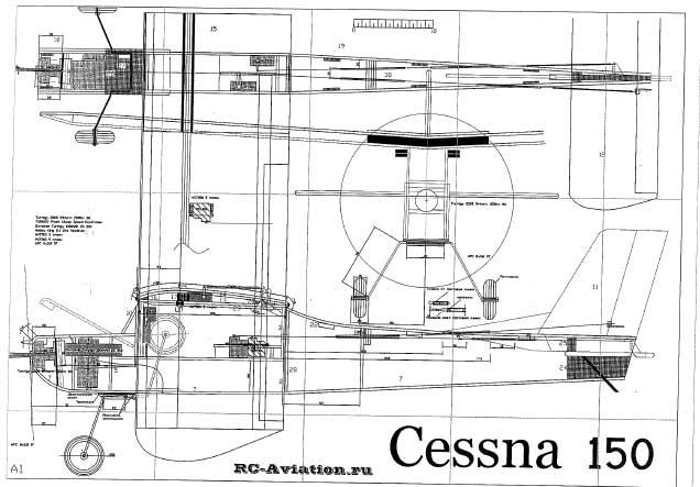 Чертежи радиоуправляемой авиамодели Цессна 150