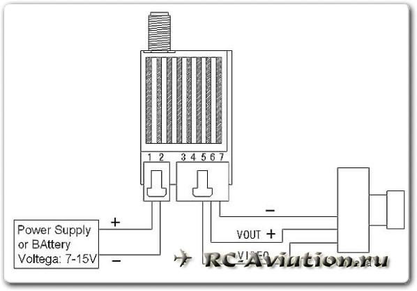 Схема подключения передатчика FPV 5.8ГГц 200 мВт