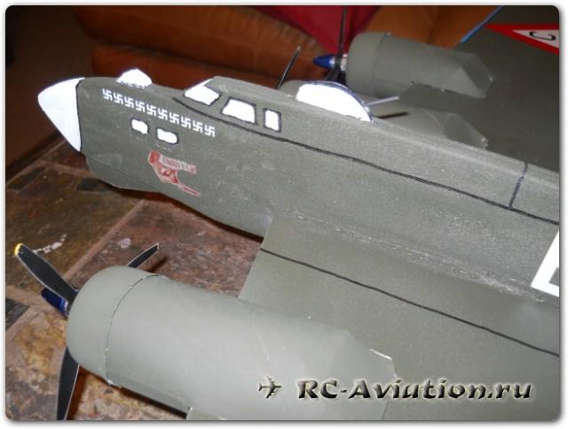 Самодельная радиоуправляемая модель 4-х моторного самолета boeing b-17f