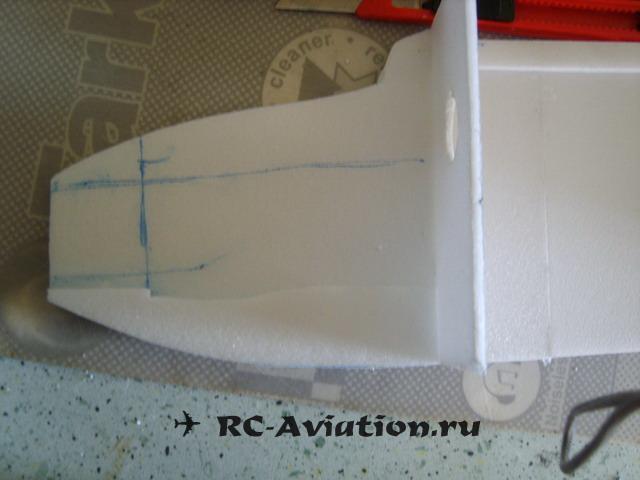 укрепления носа фюзеляжа авиамодели из потолочной плитки