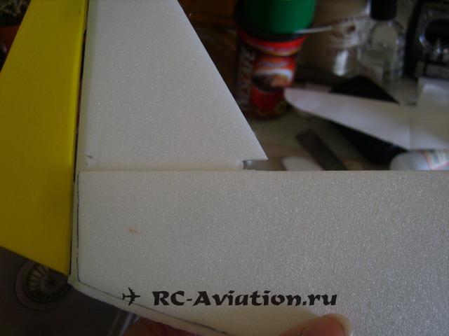 Хвост самодельной авиамодели из потолочки
