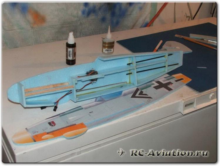 Внутренее строение фюзеляжа самодельной авиамодели из потолочной плитки