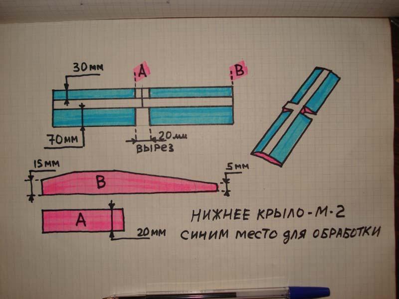 Самодельное крыло для авиамодели биплана